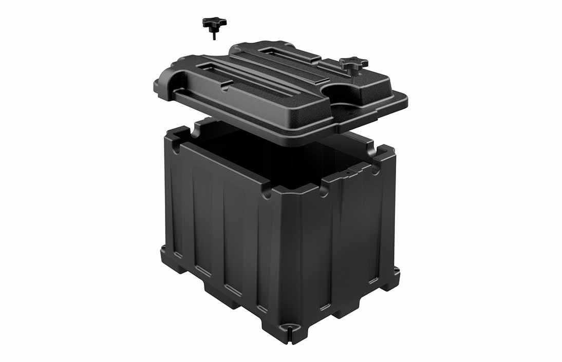 Plastic battery box design using rotational molding