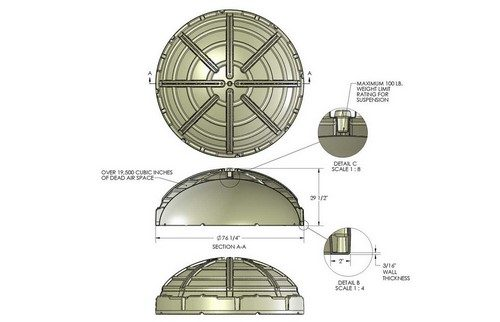 Blue-Reed Product Design / Rotational Molding Design Dome Ceiling