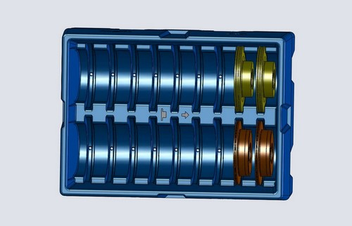 Plastic custom shipping pallet for automotive parts rotational molding