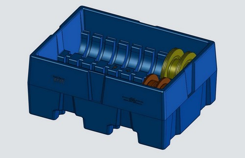 Plastic shipping tub for brake rotors / rotational molding design